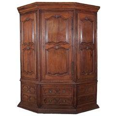 Antique French Grande Louis XIV Oak Corner Cabinet