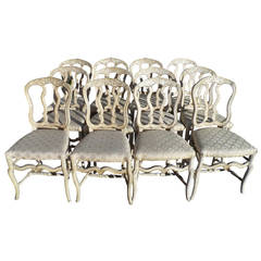 18th-19th Century Italian Set of 12 Painted and Gilded Louis XV Chairs