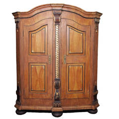 19c German Painted Armoire
