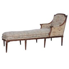 18th-19th Century French Louis XVI Chaise with Toile Upholstery