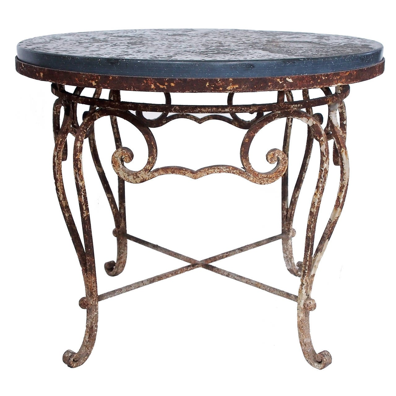 Coffee Table With Bluestone Top: Vintage Iron And Belgian Bluestone Round Table At 1stdibs