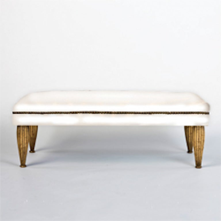 American Modern Tara Shaw Maison Zebra Bench with Gold Leaf For Sale
