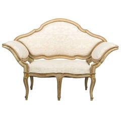 18th Century Italian Canape Upholstered in Fortuny Fabric