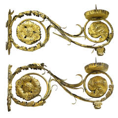 Pair of 18c Italian Louis XIV Gilded Iron Arm Sconces