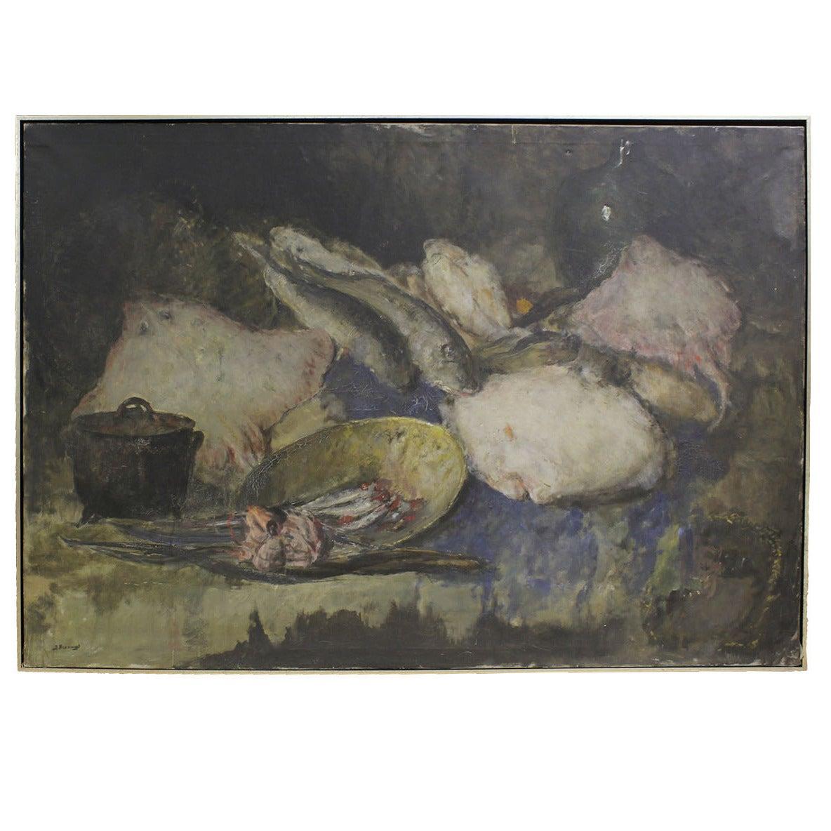 19c Belgian Still Life Painting by Jules Hubert Brouwers