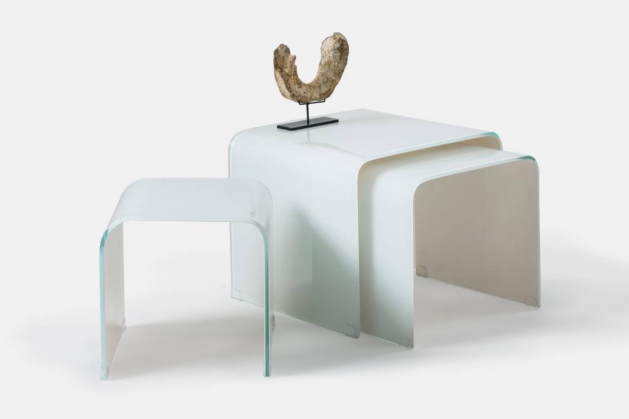 White Waterfall Tables ~ Tara shaw maison opaque white waterfall glass nesting