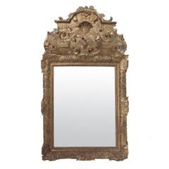 18th Century Louis XIV Gilded Mirror with Papier Mâché Cartouche