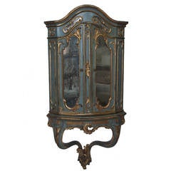 19th Century Italian Mirrored Corner Cabinet