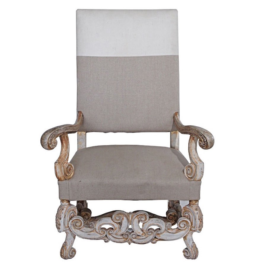 louis xiv fauteuil with two tone upholstery at 1stdibs. Black Bedroom Furniture Sets. Home Design Ideas