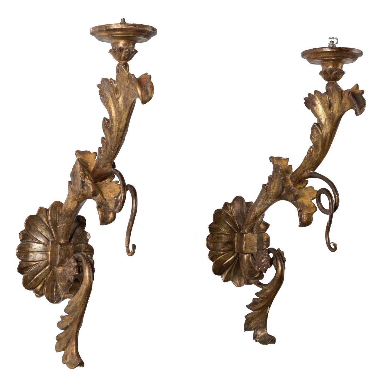 Pair of 18c Italian Louis XIV Wooden Arm Sconces with Water Gilding For Sale