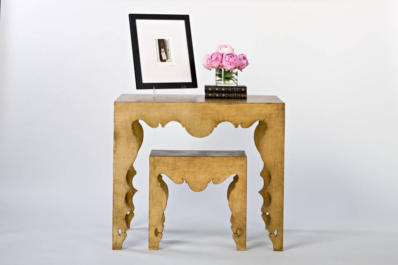 The custom regal gilded finish on this Tara Shaw Maison collection Rococo console table ensures it will stand out in any space. Pairs with gold leaf Rococo martini table. Handcrafted in New Orleans.   Custom dimensions and finish available for