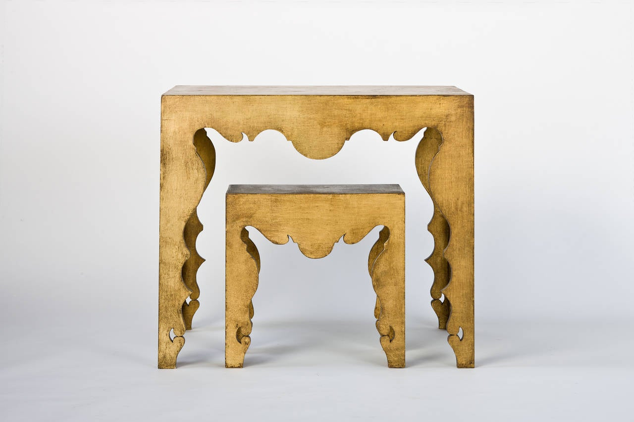 American Tara Shaw Maison Rococo Console Table in Gold Leaf For Sale