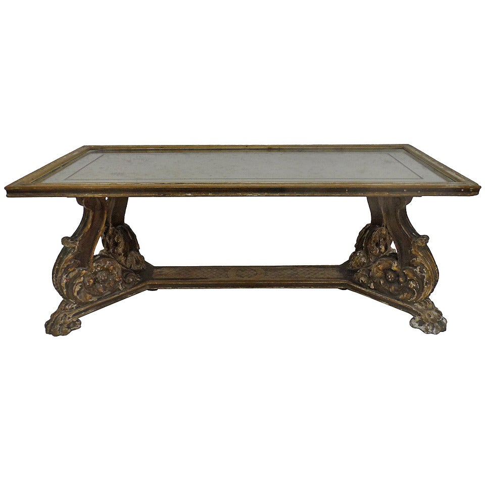 Italian Pied Du Sabot Coffee Table With Mirror At 1stdibs