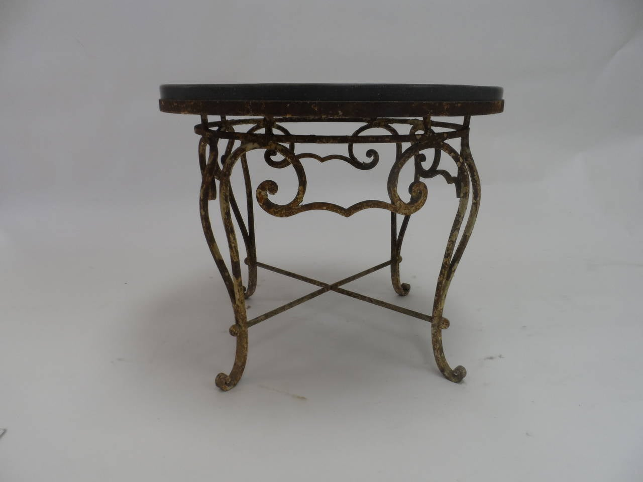 Vintage Iron And Stone Round Coffee Table At 1stdibs