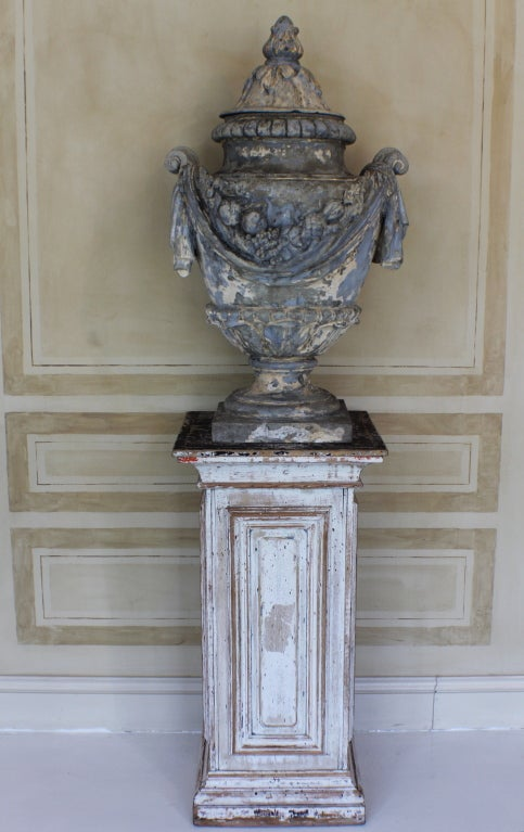 18c French Garden Urn On 19c Wooden Pedestal 2