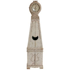 19th Century Swedish Mora Clock with Lyre Carving