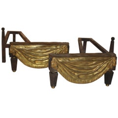 19c French Louis XVI Style Fireplace Andirons