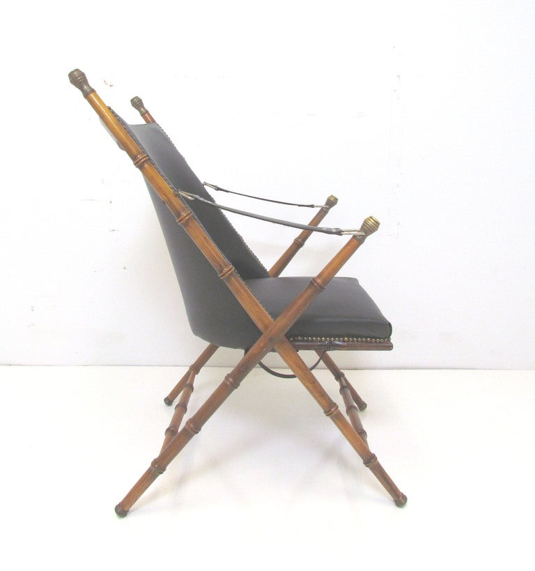 Bamboo Turned Chair: Italian Faux Bamboo Campaign Chair Ca. 1950s At 1stdibs