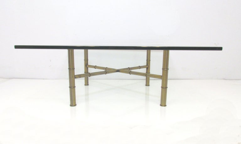 Hollywood Regency Bronzed Metal & Glass Coffee Table For Sale