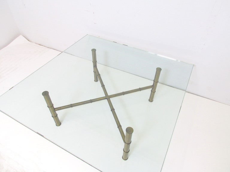 Hollywood Regency Bronzed Metal & Glass Coffee Table In Good Condition For Sale In Peabody, MA
