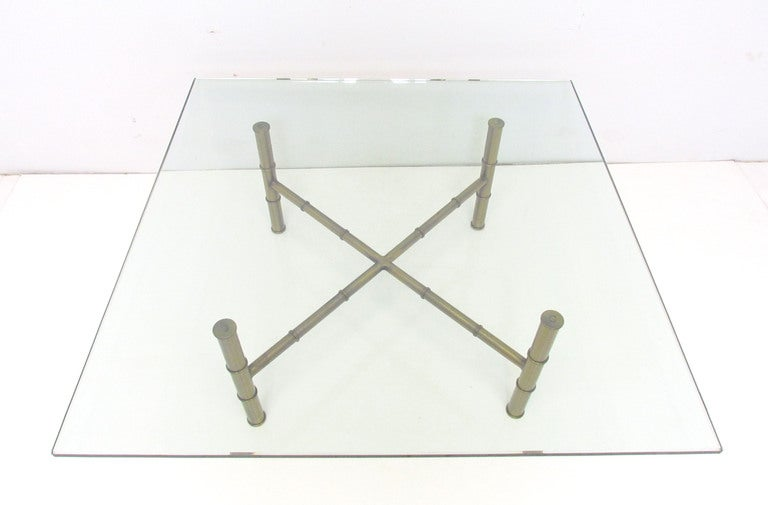 Hollywood Regency Bronzed Metal & Glass Coffee Table For Sale 1