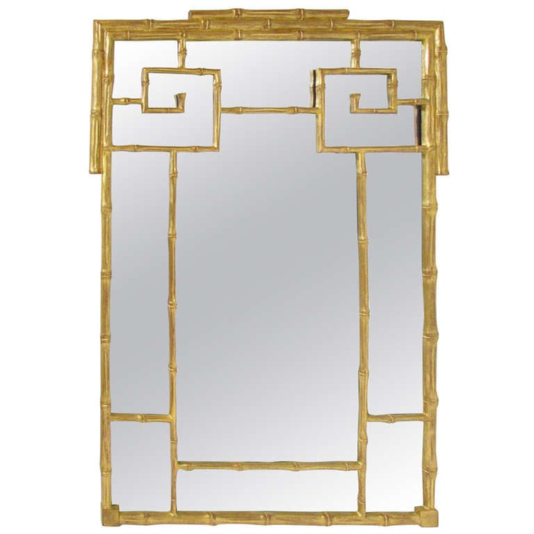 hollywood regency style carved and gilded faux bamboo mirror circa 1960s 1