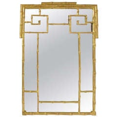 Hollywood Regency Style Carved and Gilded Faux Bamboo Mirror Circa 1960s