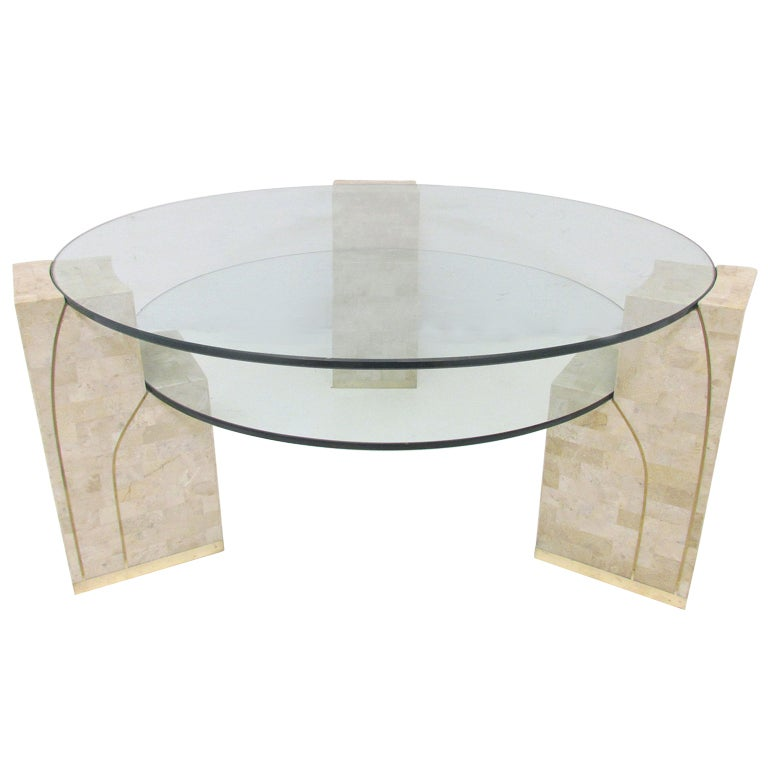 Stone And Glass Coffee Tables: Two-Tiered Glass And Tessellated Fossil Stone Coffee Table