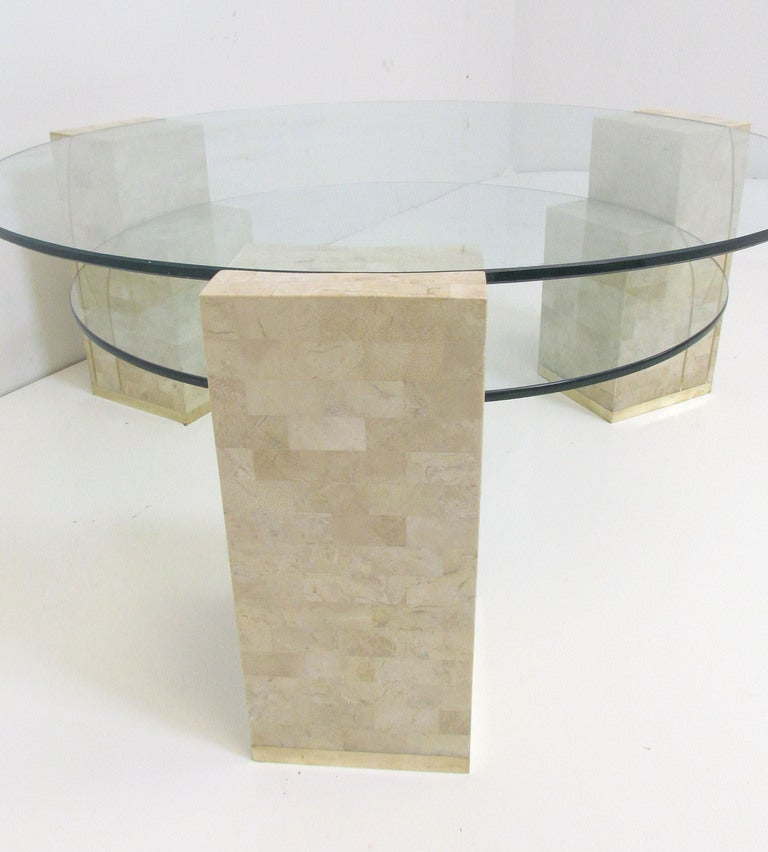 Glass Coffee Table Philippines: Two-Tiered Glass And Tessellated Fossil Stone Coffee Table