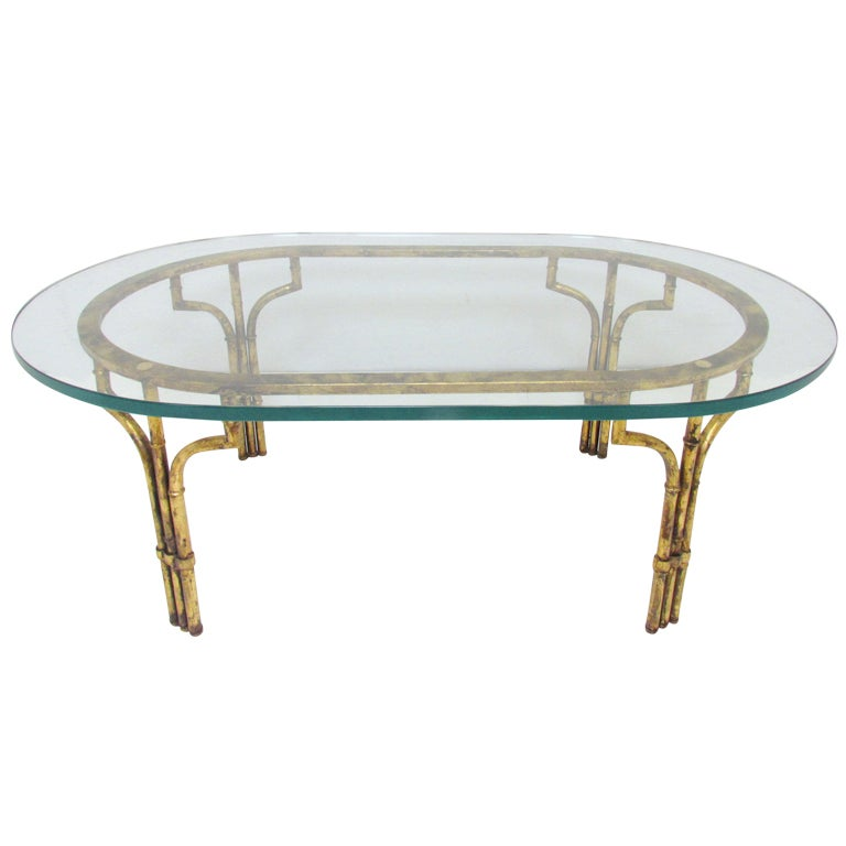 Italian Gold Gilt Iron And Glass Faux Bamboo Metal Square: Hollywood Regency Gilt Faux Bamboo Coffee Table At 1stdibs