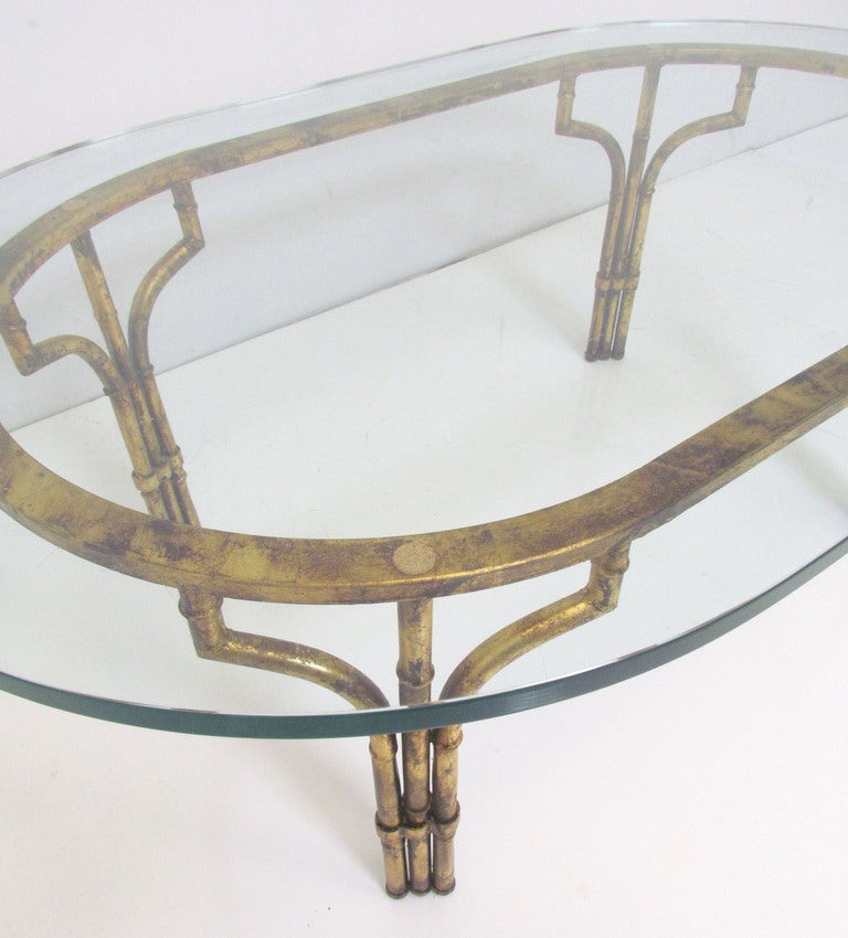 Italian Gold Gilt Iron And Glass Faux Bamboo Metal Square: Hollywood Regency Gilt Faux Bamboo Coffee Table For Sale