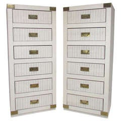 Pair of Matching Campaign Style Tower Dressers, ca. 1970s