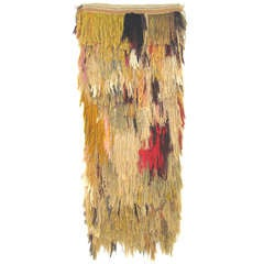 Monumental 60's Abstract Hand Woven Fiber Art Wall Tapestry