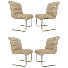 Set of Four Lugano Cantilever Dining Chairs by Mariani for Pace Collection