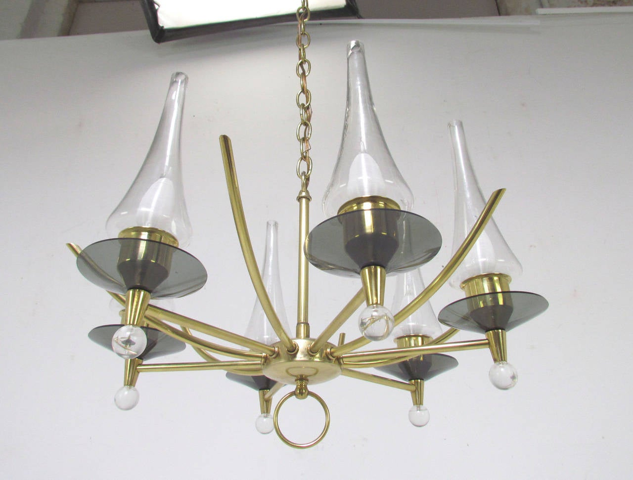 Mid-Century Modern Mid-Century Six-Arm Chandelier in Brass and Glass by Feldman Lighting Co For Sale
