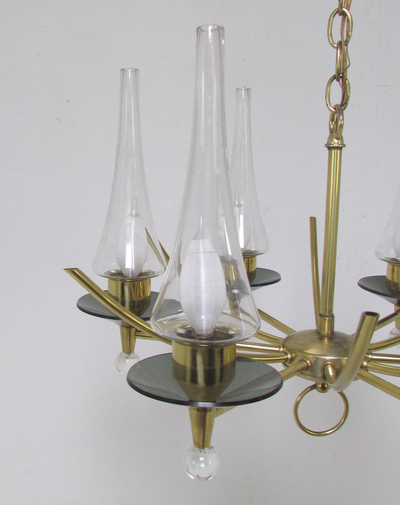 American Mid-Century Six-Arm Chandelier in Brass and Glass by Feldman Lighting Co For Sale