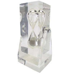 Large Sculptural Lucite Hourglass on Pivoting Stand circa 1960s
