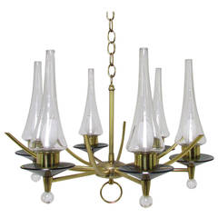 Mid-Century Six-Arm Chandelier in Brass and Glass by Feldman Lighting Co