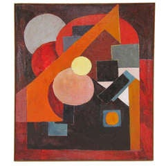 Geometric Abstract Painting by Hector Munoz, d. 1964