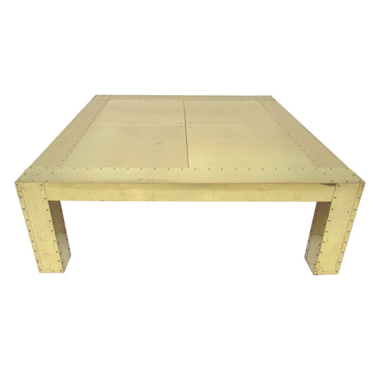 Large brass clad and studded parsons style coffee table ca for Coffee table with studs