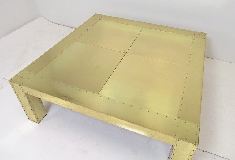 Large Brass Clad And Studded Parsons Style Coffee Table Ca S At - Studded coffee table