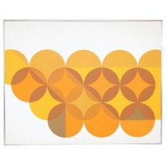 Large 5' by 4' Op Art Painting ca. 1970s