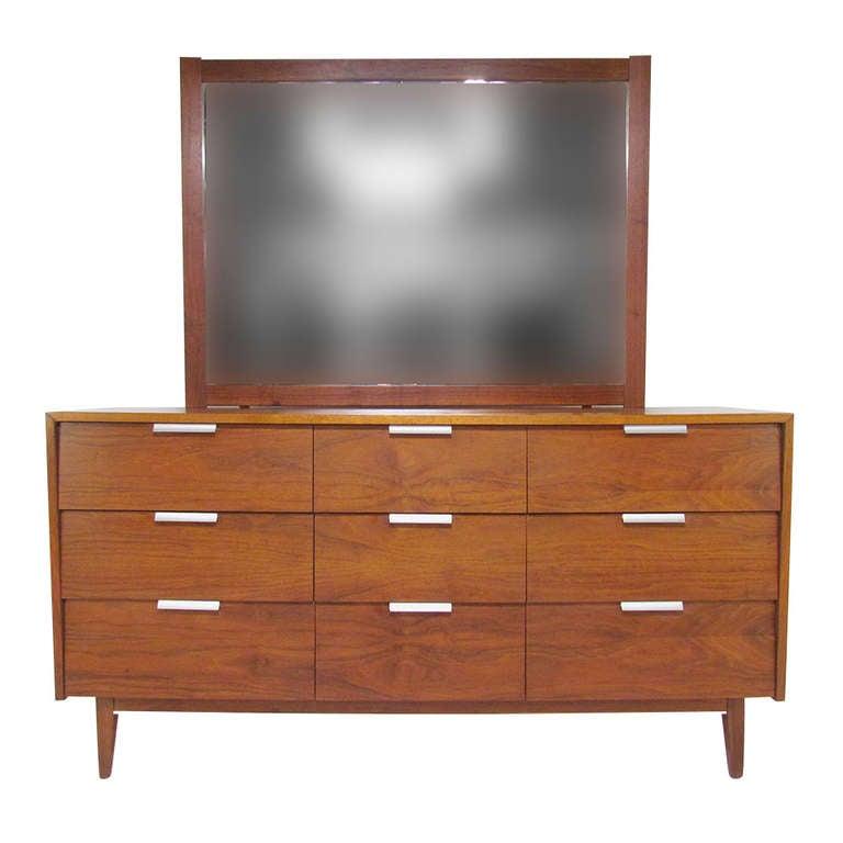Mid-Century Modern Nine Drawer Dresser with Brushed ...