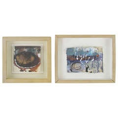 Pair of Early Miniature Abstract Paintings by Juliet Holland, d. '88 and '91