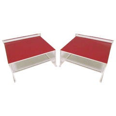 Pair of Italian Side Tables in Leather and Chrome by Poltrona Frau