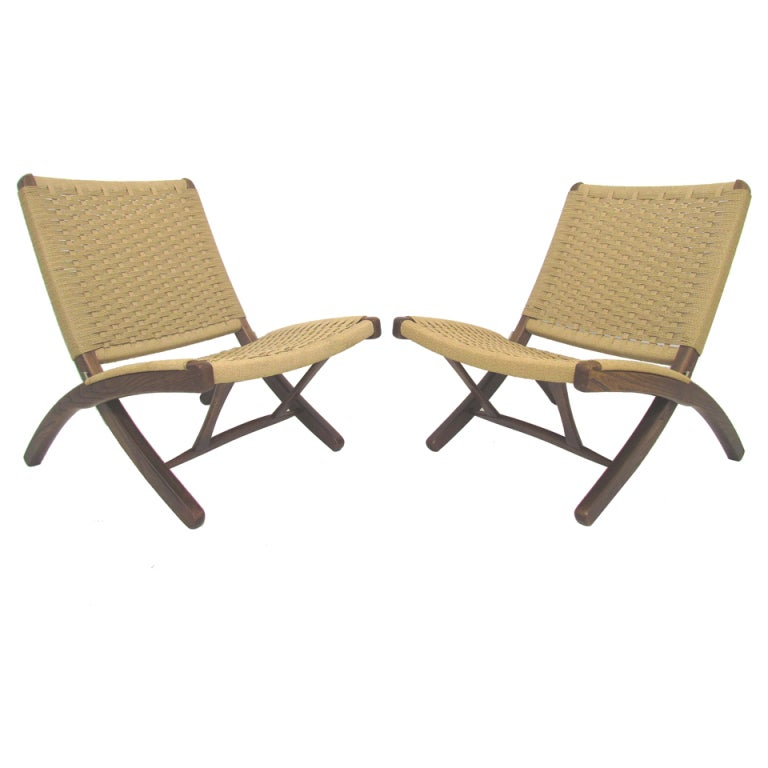 Pair Of Wegner Style Japanese Rope Chairs Ca 1960s At 1stdibs