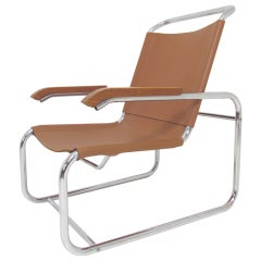 Bauhaus Style Leather and Chrome Lounge Chair, ca. 1960s