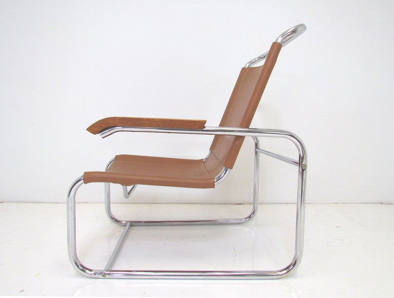 bauhaus style leather and chrome lounge chair ca 1960s at 1stdibs. Black Bedroom Furniture Sets. Home Design Ideas