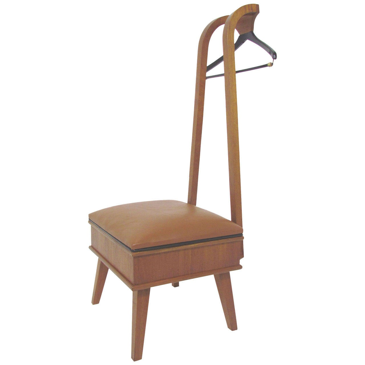 Mid century modern studio made valet chair in walnut and for Mid century modern leather chairs