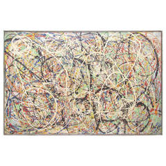 Abstract Expressionist Splatter and Drip Painting, Dated 1962